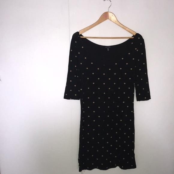 😍Le Chateau Black & Tan Polka Dot Dress 😍